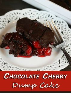 Chocolate Cherry Dump Cake - easy and delicious! Only 3 ingredients - cake mix, cherry pie filling and cola! Chocolate Cherry Dump Cake, Chocolate Cake Mixes, Chocolate Chocolate, Cooking Chocolate, Chocolate Filling, Chocolate Frosting, Delicious Chocolate, Chocolate Covered, Easy Desserts