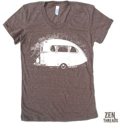 This is cute! I'd wear it camping or not... cuz it's where I wish I always was!  Women's VINTAGE CAMPER  t shirt american apparelS M by ZenThreads, $18.00