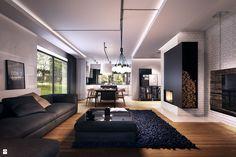 czarnty salon, ciekawy dywan