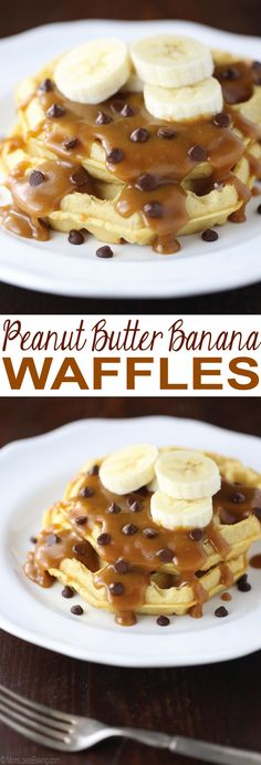 Peanut Butter Banana Waffles are Eggo Thick & Fluffy Original Waffles with a homemade peanut butter syrup, sliced bananas and mini chocolate chips on top. Such a delicious breakfast or snack! #EggoMyWay #ad