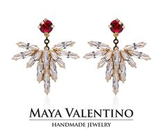 Amazing Modern ear jacket design, Design & Created By Maya Valentino & Co. With love passion and beautiful sparkling crystals from Swarovski®  Mayavalentino.etsy.com Ruby Earrings, Bridal Earrings, Bridal Jewelry, Climbing Earrings, Ear Jacket, Jewelry Model, Selling Jewelry, Jewelry Trends, Statement Jewelry