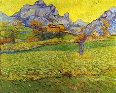 A Meadow in the Mountains: Le Mas de Saint-Paul (also known as 'Wheat Field in a Mountainous Landscape') Vincent van Gogh - 1889 Kröller-Müller Museum - Otterlo (Netherlands) Painting - oil on canvas Height: 73 cm in.), Width: 91 cm in. Vincent Van Gogh, Paul Vincent, Art Van, Desenhos Van Gogh, Van Gogh Arte, Van Gogh Pinturas, Van Gogh Paintings, Canvas Paintings, Landscape Paintings