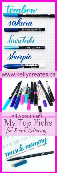 @kellycreates #brushlettering #brushcalligraphy Learn about brush pens, favourites, best for beginners,