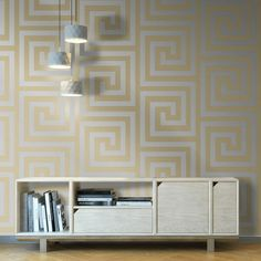 This stunning wallpaper features a geometric on-trend Greek key maze style pattern finished in lovely glitter elements An amazing wallpaper that will be the highlight of any room #wallpaperdepot #wallpaper #interior #interiordesign #interiordecor #interiors #home #homedecor #walldecor #bedroom #kitchen #bathroom #kitchen #wallart #renovation #geometric Luxury Wallpaper, Glitter Wallpaper, Designer Wallpaper, Geometric Wallpaper Design, Geometric Decor, Stunning Wallpapers, Amazing Wallpaper, Glitter Background, Interior Decorating
