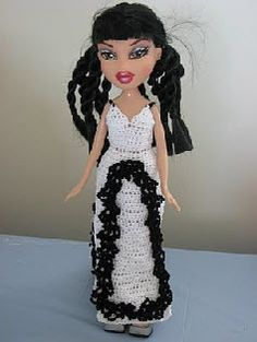 White Gown With Black Lace  For  Fashion Bratz Doll  Free Crochet Pattern