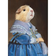 Guinea Pig Wall Art Prints Guinea Pig Design Cavy Cute Guinea Pig Guinea Pig in a Blue Dress Foto Zoom, Guinea Pig Costumes, Cute Guinea Pigs, Pig Art, Cute Piggies, Painting Of Girl, Animal Nursery, Pet Clothes, Pet Portraits