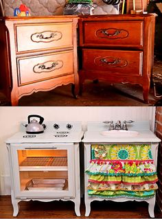 Repurposed furniture,into  play kitchen, totally can do this....