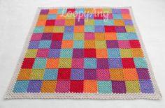 Crochet Patchwork Blanket Granny Square Throw by LoopyAngCrochet