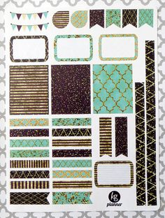 Teal Glitz Decorating Kit / Weekly Spread Planner by PlannerPenny