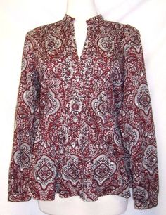 TALBOTS Wine/Gray Paisley COTTON TOP long Sleeve/V Neck/sequins sz M exc cond #Talbots #Pullovertop