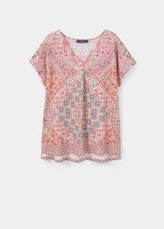 Plus Size Printed linen t-shirt