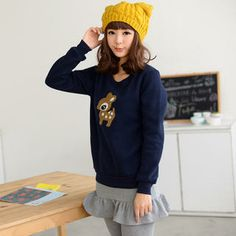 Brushed-Fleece Lined Deer Appliqué Pullover from #YesStyle <3 59 Seconds YesStyle.com