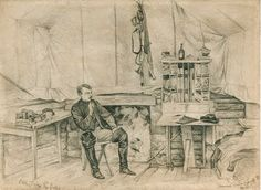 Pencil drawing by Edwin Forbes in 1863 of the interior of a Union soldier's Virginia tent.  Civil War Quilts: Inside Willoughby Babcock's Tent