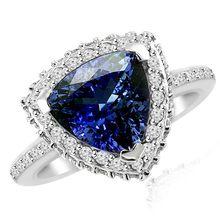 Trillion Tanzanite Diamond Halo Engagement Ring Eternity Band