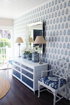 block print wallpaper, chippendale chairs with ikat cushions