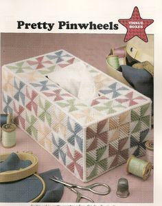 Pretty Pinwheels Tissue Box Cover Plastic by needlecraftsupershop, $4.50