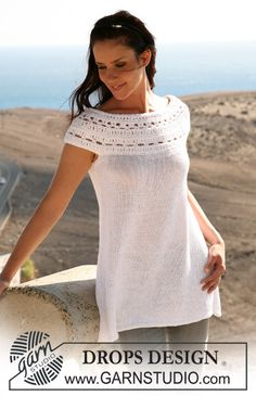 """DROPS tunic in """"Bomull-Lin"""" and """"Cotton Viscose"""" with crochet yoke. Size S – XXXL. ~ DROPS Design This is an unintelligible pattern for me, but am looking for this type of yoke pattern. Crochet Yoke, Crochet Blouse, Diy Crochet, Crochet Collar, Crochet Round, Drops Design, Knitting Patterns Free, Free Knitting, Crochet Patterns"""