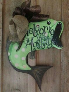 Bass fish ornament -door hanger for the man cave Painted Doors, Painted Signs, Wooden Doors, Wooden Signs, Burlap Crafts, Wooden Crafts, Diy And Crafts, Fish Ornaments, Burlap Door Hangers