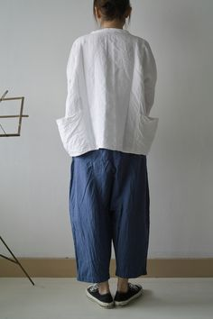DOUBLE BUTTON SHIRTS LINEN WHITE ¥17,850 WIDE PANTS BLUE MIX CHECK linen100 ¥18,900 INDIAN SHIRTS LINEN WHITE ¥16,800 DIAPER PAN...