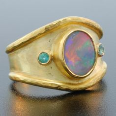 Black Opal Cigar Band Ring  Fine Jewelry by Francis & Linelle Lynch