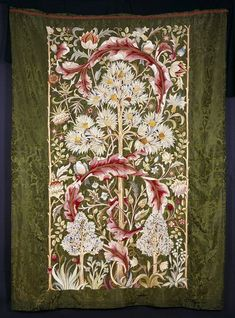 Embroidered wall hanging 'The Pigeon' worked in silks on a background of silk damask, designed by John Henry Dearle, ca. and embroidered by Mrs Battye, ca. made by Morris & Co. William Morris, William Blake, Textiles, Textile Patterns, Pigeon John, John Everett Millais, Chintz Fabric, Art Nouveau Tiles, Thread Painting