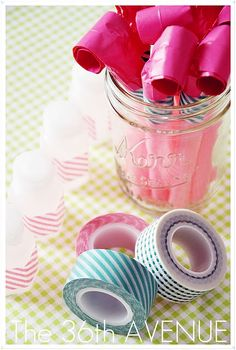 Washi Tape for Parties / Fiestas Bubbles wedding or party favor decorated with washi tape.