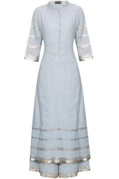 Serenity blue and rose gold gota patti work pakistani kurta and pyajama set available only at Pernia's Pop Up Shop.