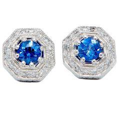 Art Deco 1.64 Carat Sapphire Diamond Platinum Stud Earrings | From a unique collection of vintage stud earrings at https://www.1stdibs.com/jewelry/earrings/stud-earrings/