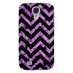 Black and Purple Textured Chevron Galaxy S4 Cover