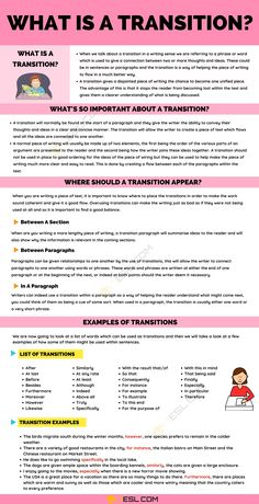 Transition: Definition and Useful Examples of Transitions in Writing School Tips, School Hacks, Transition Words And Phrases, Improve Your English, English Tips, Learning English, Test Prep, In Writing