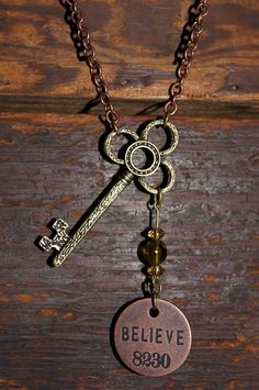 Skeleton key and Believe necklace by TheNOA on Etsy, $20.00