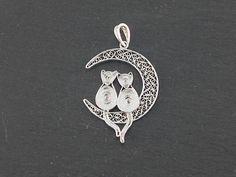Silver filigree pendant cats on the moon by BongeraFiligrana, $54.00