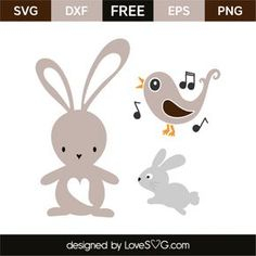 *** FREE SVG CUT FILE for Cricut, Silhouette and more *** Spring animals: Rabbits and bird