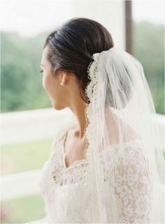 Mantilla veil with updo, perfect for when I remove the cap from my mom's vintage veil