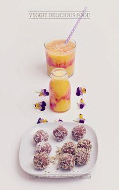 Trufas de caju e coco com batido de manga - um snack nutritivo e crudívoro