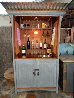 Made An Outdoor Bar From An Old Oak TV Cabinet.
