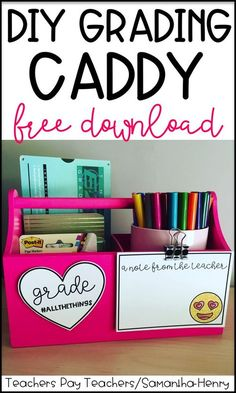 DIY Grading Caddy for teachers. Includes a FREE download.