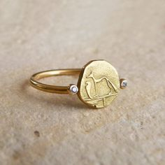 Gold Signet Ring - Dog & Snake Ring - 18k Solid Gold on Etsy, $520.00