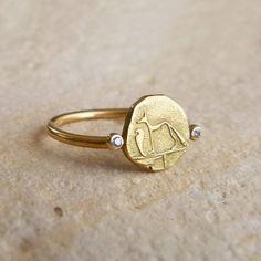 Gold Signet Ring - Dog & Snake Ring - 18k Solid Gold on Etsy, $520.00