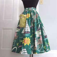 "Vintage 50s Nautical Skirt Small S Printed Cotton Print Full Waist 25.5"" Novelty"