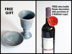 Kiddush Cup,Jewish Home Decor,Wine Goblet,Judaica Wedding Gift,Shabbat Sabbath Blessing,Handmade Ceramic,Made In Israel,Religious Holiday