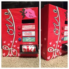 Turn this into a LaCroix vending machine ! Valentine Day Boxes, Valentine Crafts, Be My Valentine, Kids Valentines, Soda Vending Machine, Diy And Crafts, Crafts For Kids, Cars 1, Holiday Fun