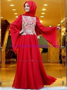 Pınar Şems şifon işlemeli kırmızı abiye elbise