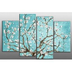 Large Duck Egg Blue Blossoming Tree Canvas artwork 4 pieces multi panel split canvas completely ready to hang hanging cord attached, hanging template included for easy hanging, hand made printed to order UK company width height Canvas Artwork, Oil Painting On Canvas, Canvas Prints, Artwork Paintings, Cherry Blossom Art, Blossom Trees, Cherry Blossom Bedroom, Apricot Blossom, Oil Painting For Beginners
