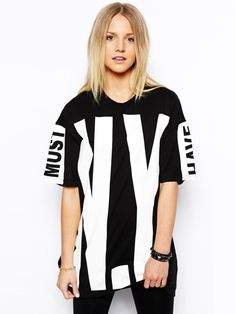 Street Style Short-Sleeved Round Neck Plus Size Big NY Letters Printed Black Cotton T-Shirt