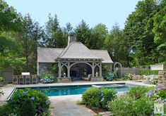 Complementing a brick main house, this pool house designed by Douglas VanderHorn Architects is well-used family space that provides ample opportunity for outdoor fun while maintaining the English Tudor charm of this Connecticut property. Tudor Cottage, Tudor House, Pool House Designs, Garden Swimming Pool, Pool House Plans, Pool Cabana, Pool Spa, Porch And Balcony, English Tudor