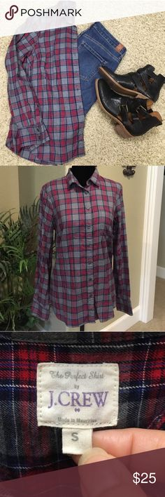 "J. Crew flannel ""The perfect shirt"" by J. Crew. Like new, no piling, washed and let air dry, so there's no fading either. Great for fall and winter. Smoke free home. J. Crew Tops Button Down Shirts"