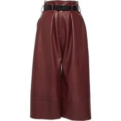 Martin Grant High Waisted Leather Bermuda (11.350 RON) ❤ liked on Polyvore featuring shorts, red, highwaist shorts, bermuda shorts, high-rise shorts, high-waisted shorts and high waisted shorts
