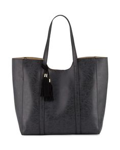Braided Tassel Faux-Leather Tote Bag, Black
