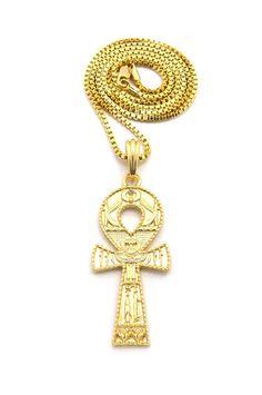 Ancient Egyptian Ankh Cross Diamond Cz 14k Gold Pendant - Bling Jewelz